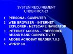 system requirement under mca 21