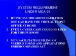 system requirement under mca 2111