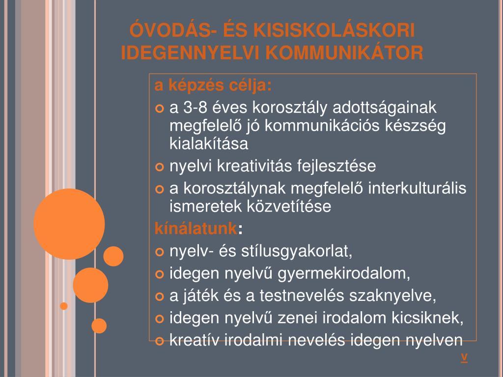 ÓVODÁS- ÉS KISISKOLÁSKORI IDEGENNYELVI KOMMUNIKÁTOR