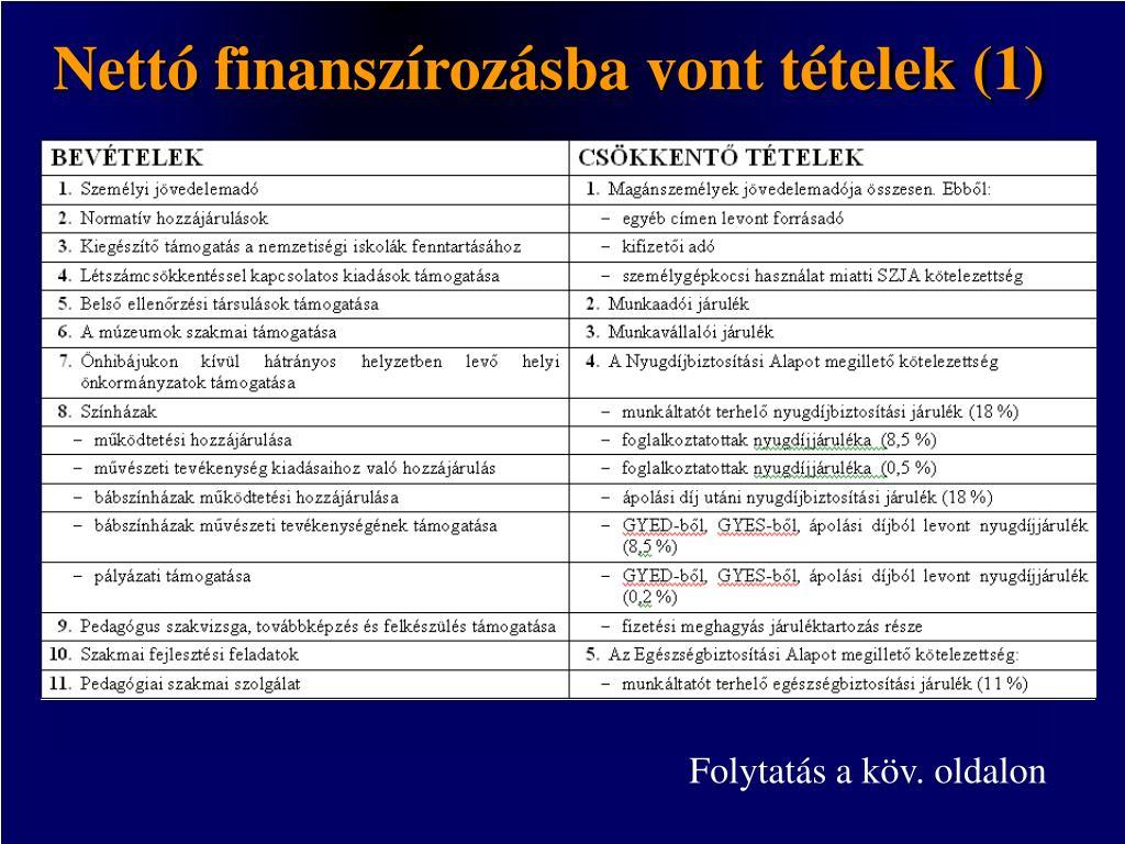 Nettó finanszírozásba vont tételek (1)