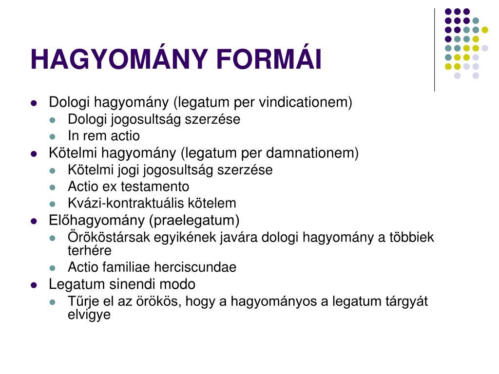 HAGYOMÁNY FORMÁI
