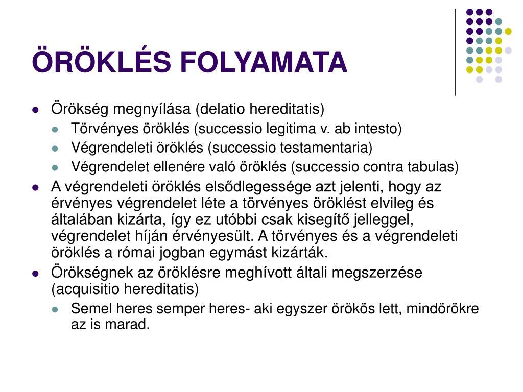 ÖRÖKLÉS FOLYAMATA