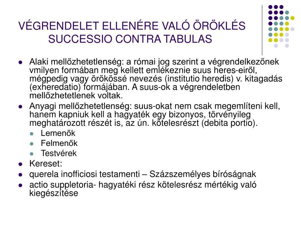 VÉGRENDELET ELLENÉRE VALÓ ÖRÖKLÉS