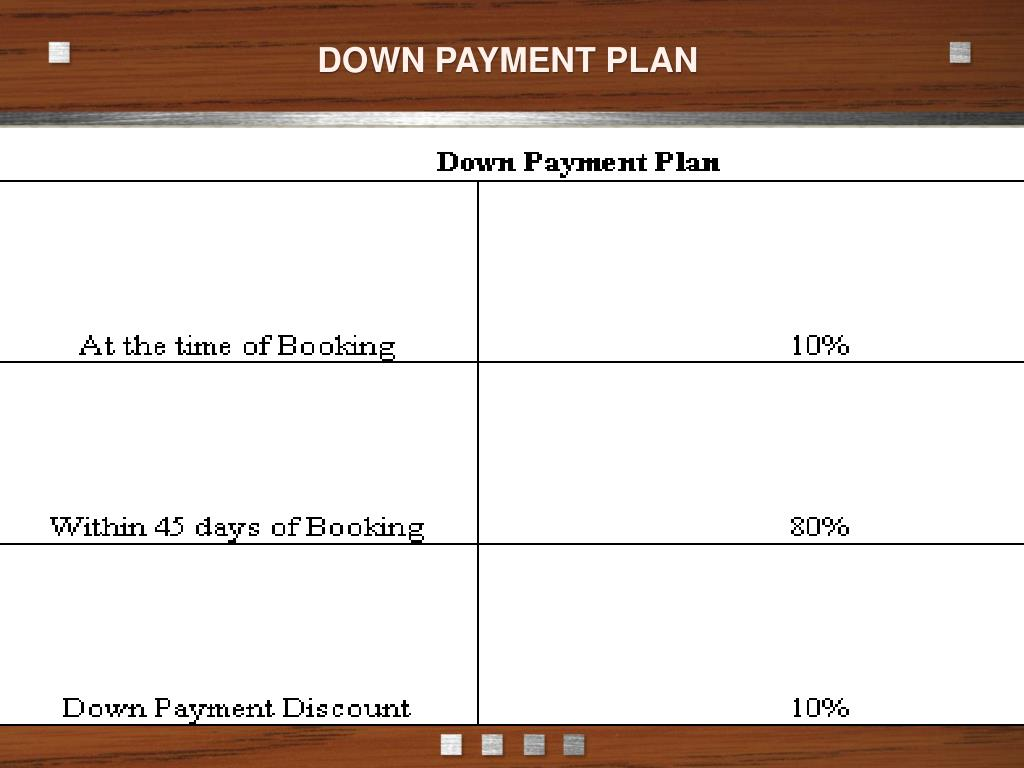DOWN PAYMENT PLAN
