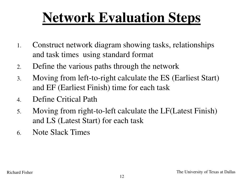 Network Evaluation Steps