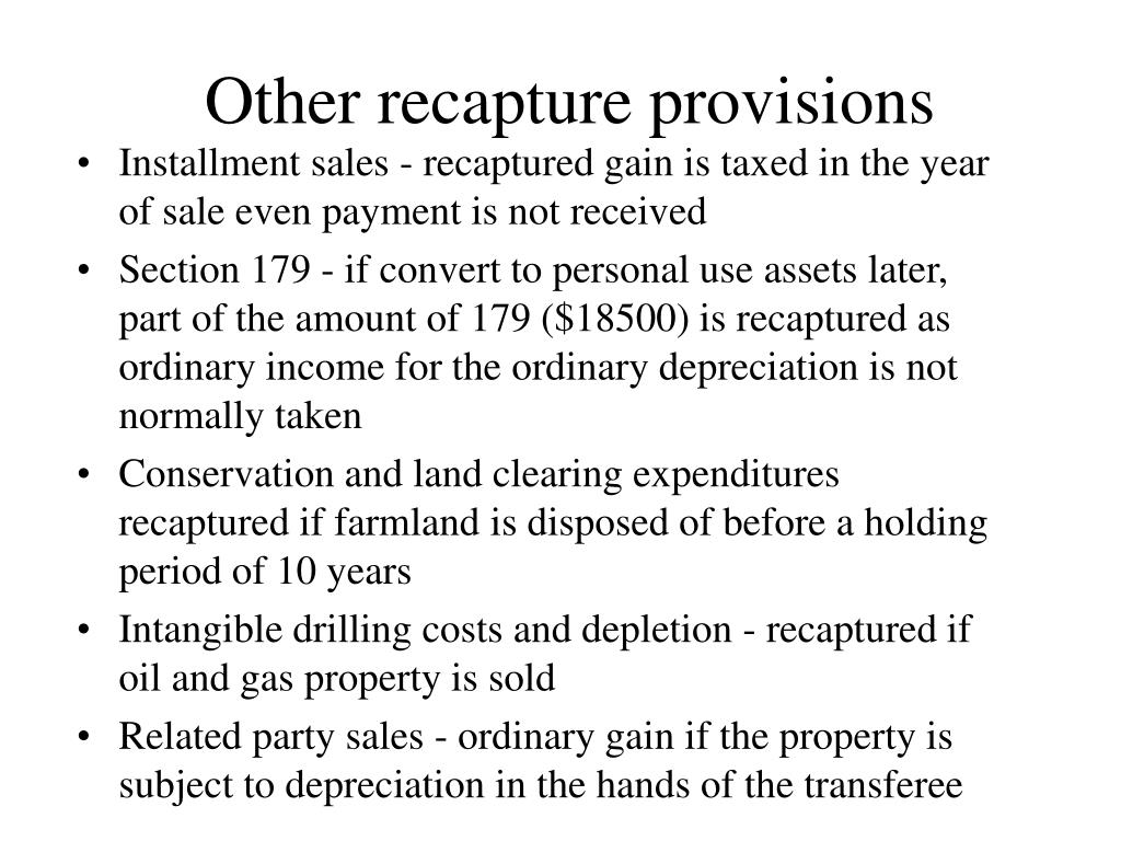 Other recapture provisions