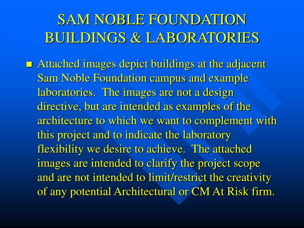 SAM NOBLE FOUNDATION BUILDINGS & LABORATORIES