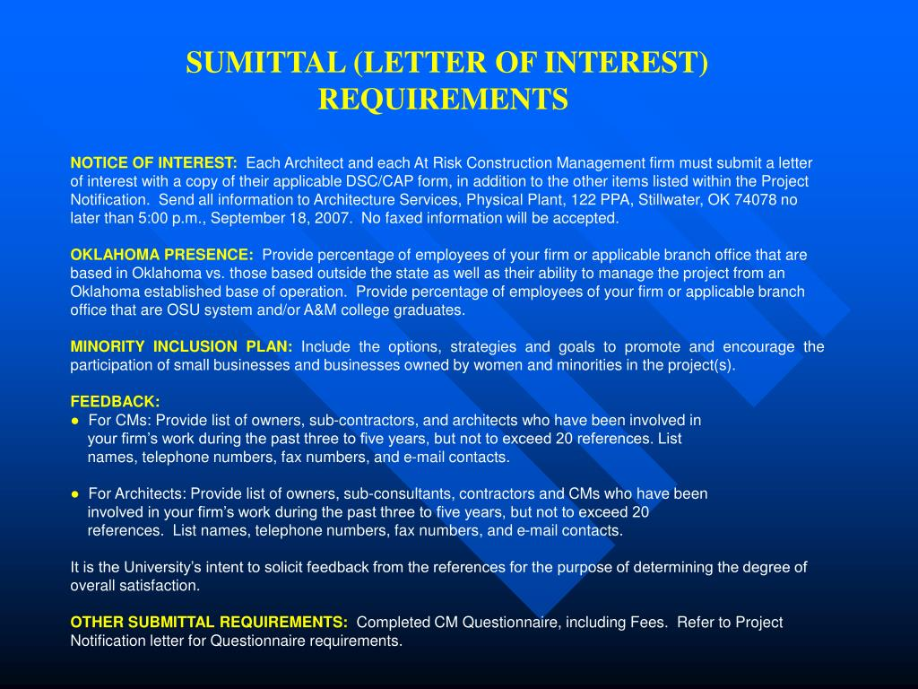 SUMITTAL (LETTER OF INTEREST) REQUIREMENTS