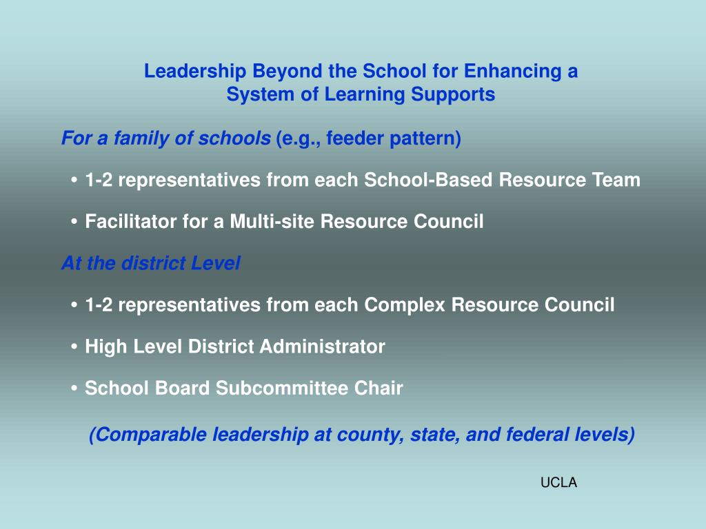 Leadership Beyond the School for Enhancing a