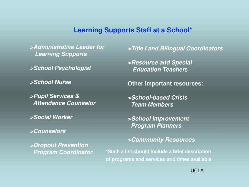 Learning Supports Staff at a School*