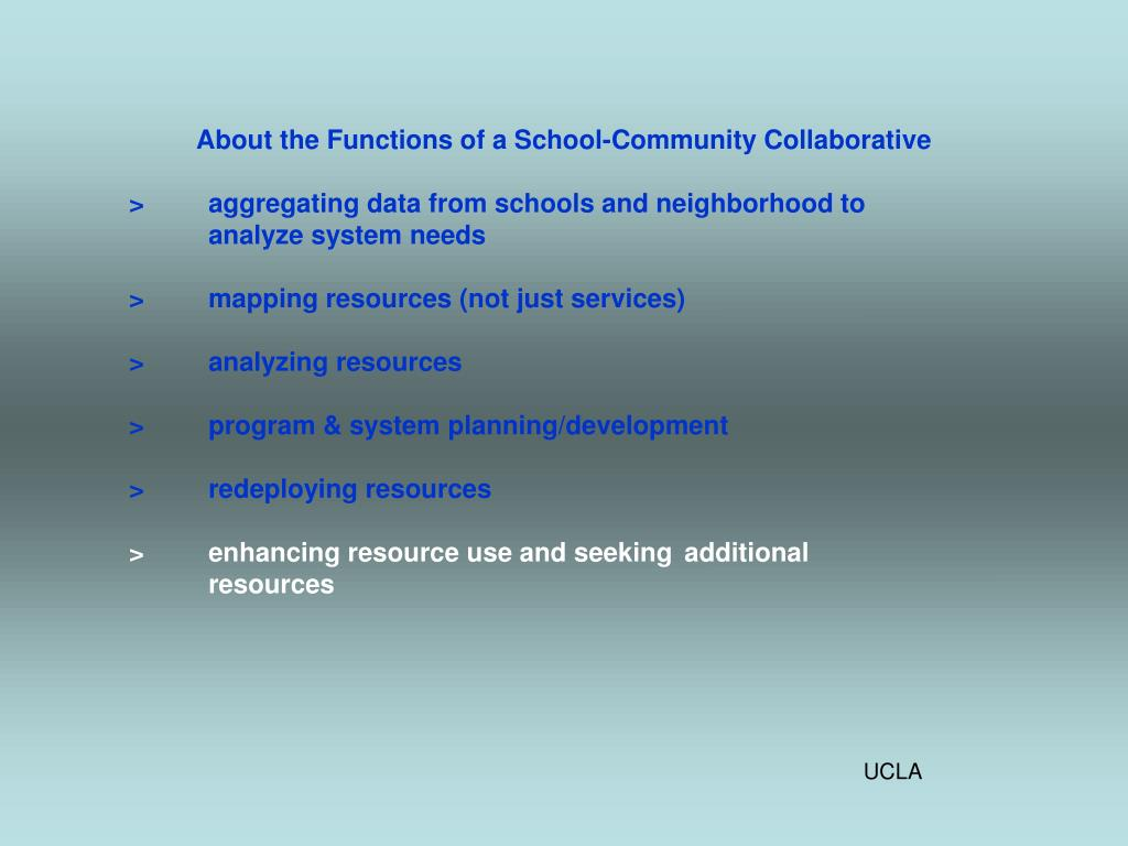 About the Functions of a School-Community Collaborative