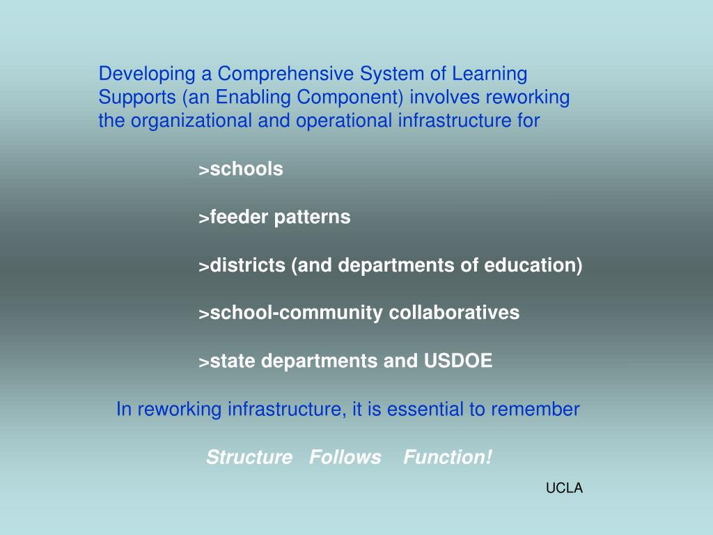 Developing a Comprehensive System of Learning Supports (an Enabling Component) involves reworking the organizational and operational infrastructure for