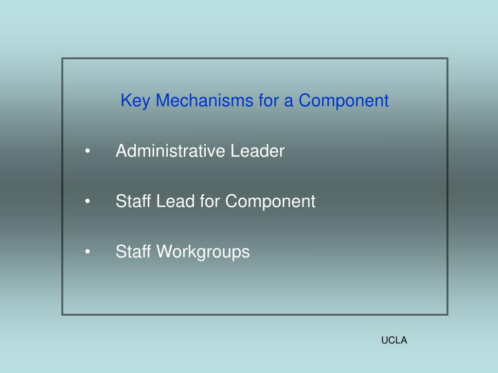 Key Mechanisms for a Component