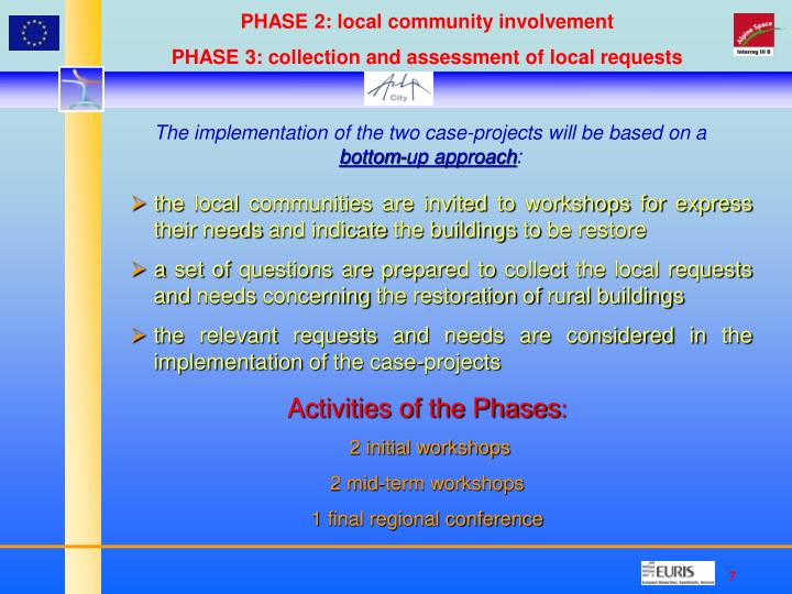PHASE 2: local community involvement