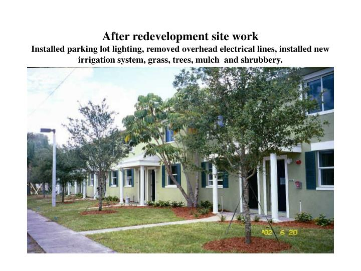 After redevelopment site work