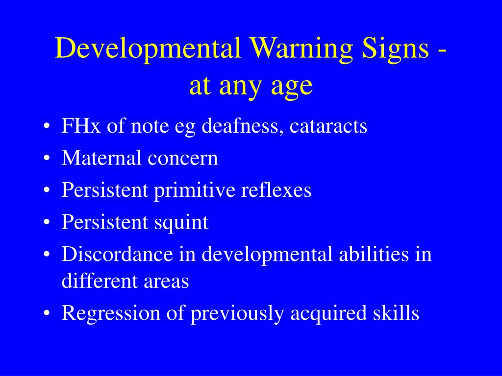 Developmental Warning Signs - at any age