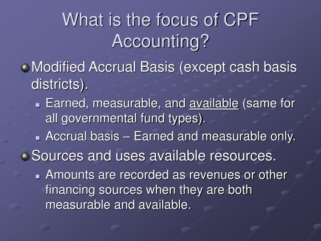 What is the focus of CPF Accounting?