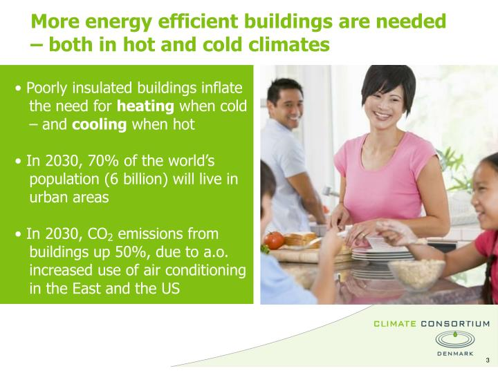 More energy efficient buildings are needed         – both in hot and cold climates