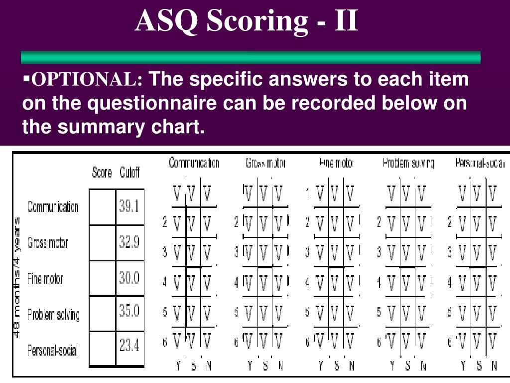 ASQ Scoring - II