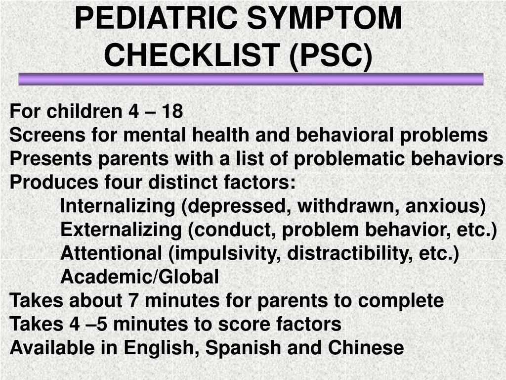 PEDIATRIC SYMPTOM CHECKLIST (PSC)