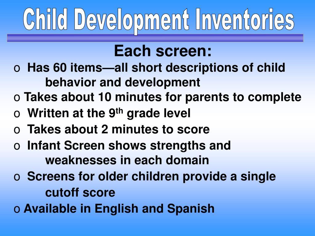 Child Development Inventories