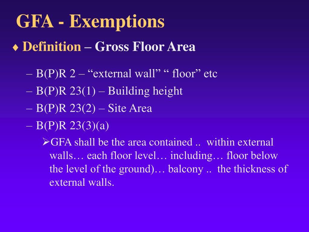 GFA - Exemptions