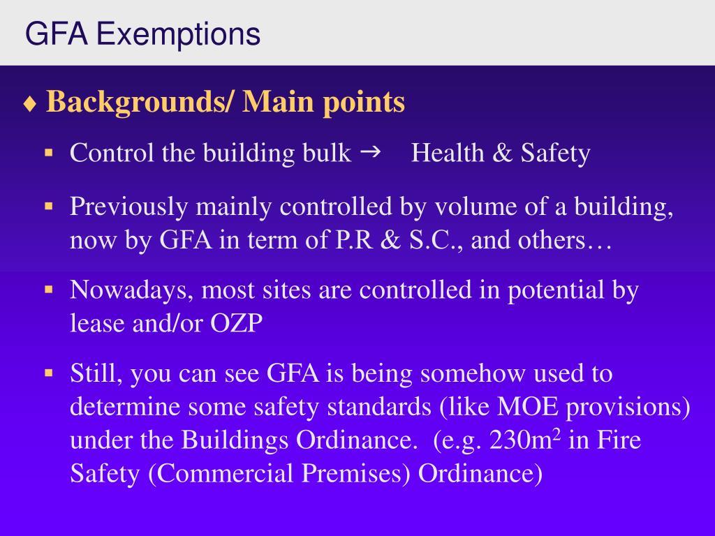 GFA Exemptions
