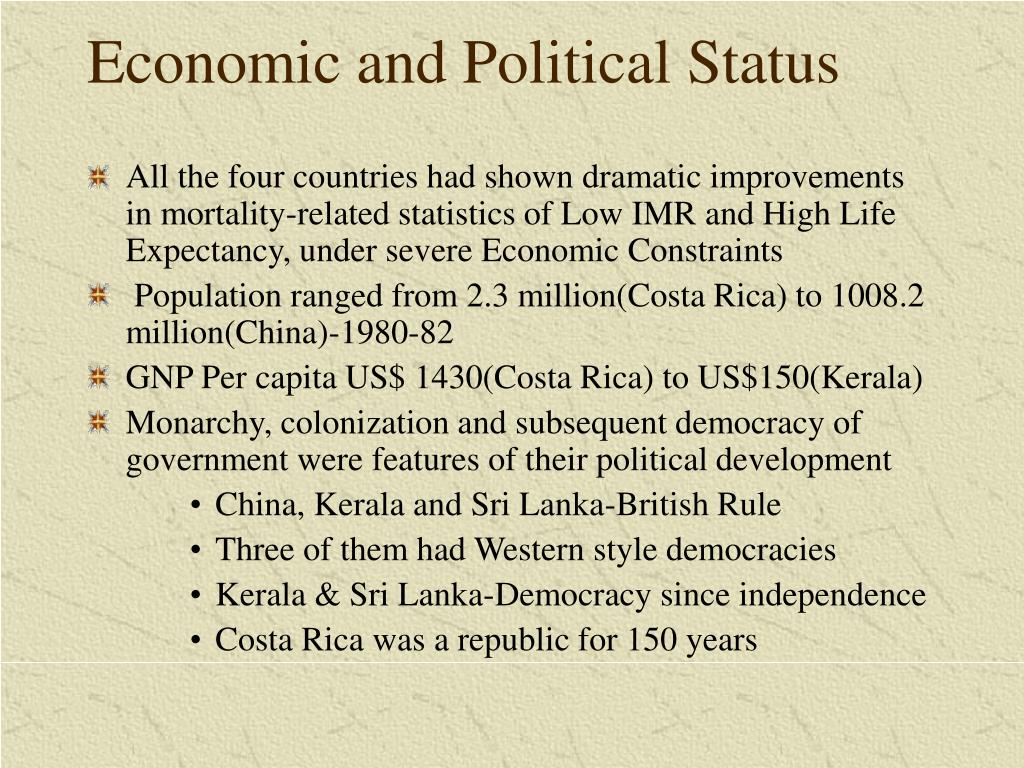 Economic and Political Status
