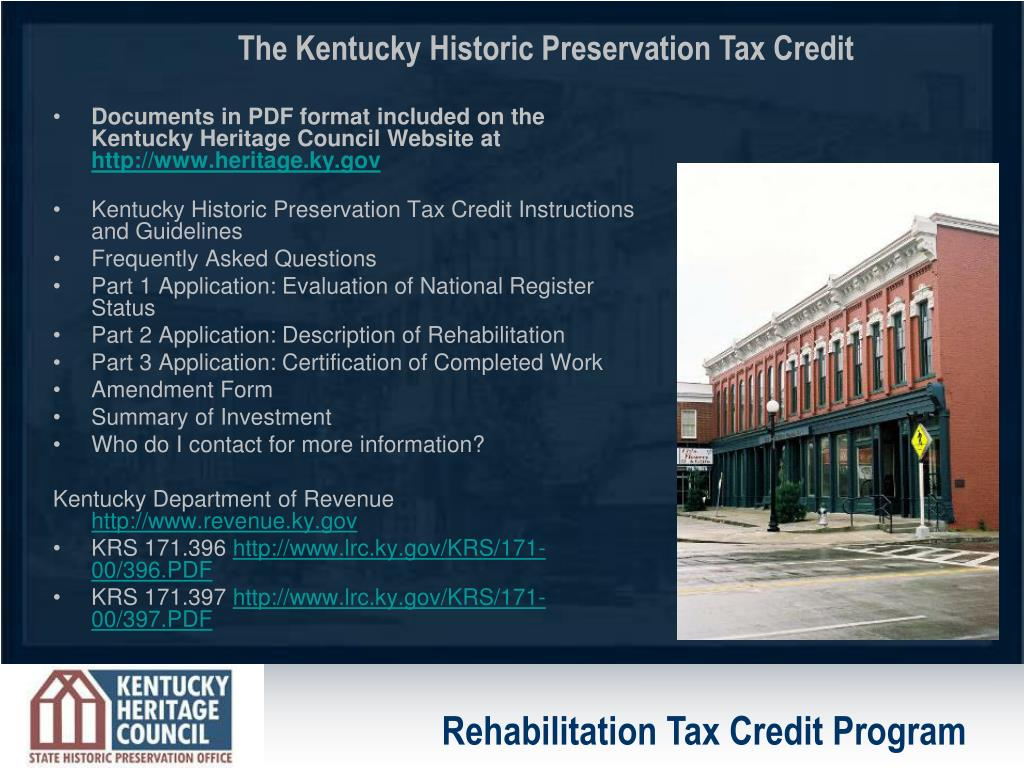 Documents in PDF format included on the Kentucky Heritage Council Website at