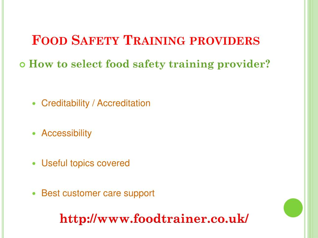 Food Safety Training providers