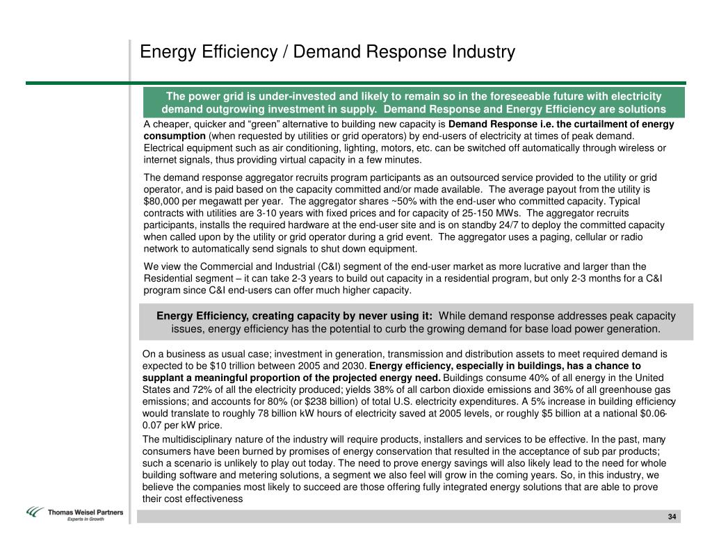 Energy Efficiency / Demand Response Industry