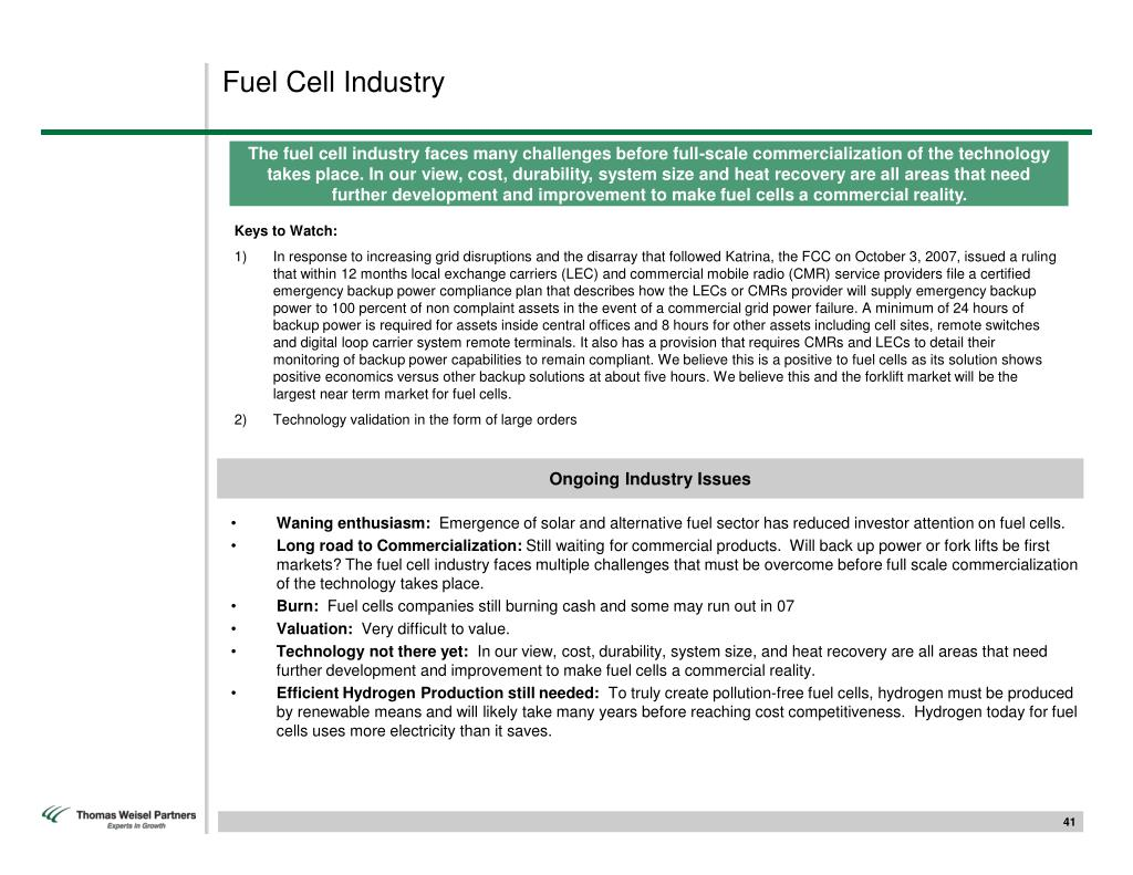 Fuel Cell Industry