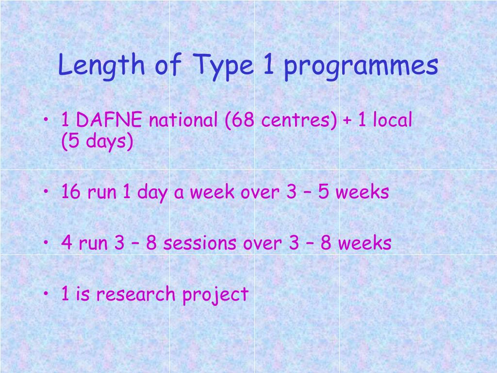 Length of Type 1 programmes