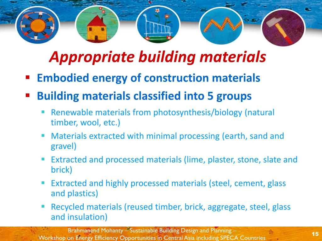 Embodied energy of construction materials