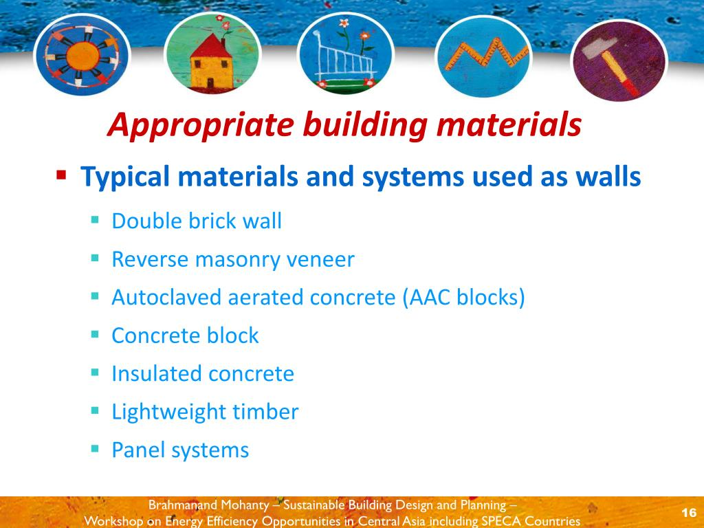 Typical materials and systems used as walls