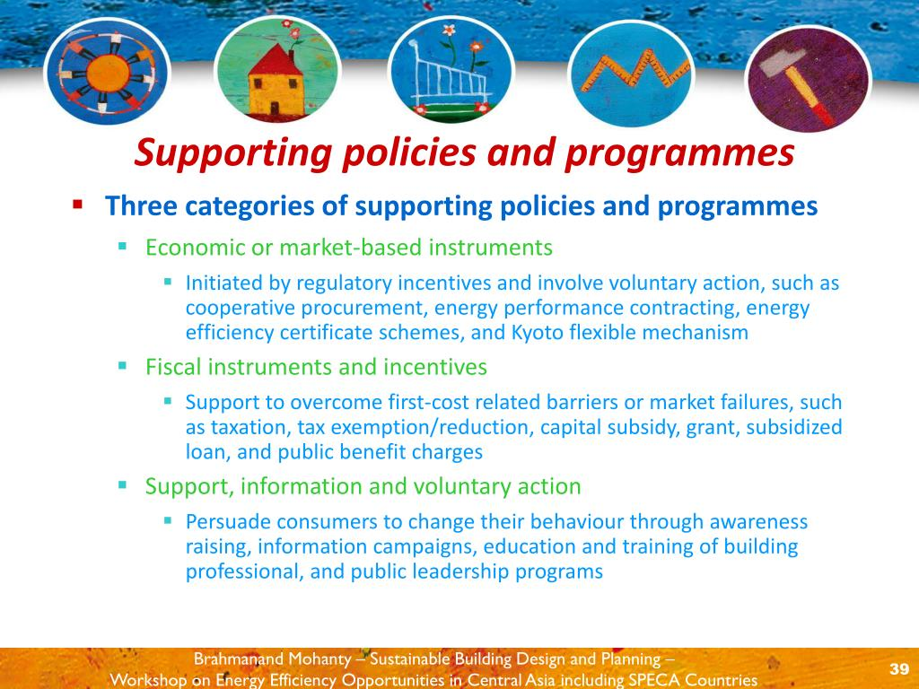 Three categories of supporting policies and programmes