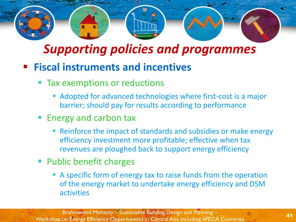Fiscal instruments and incentives