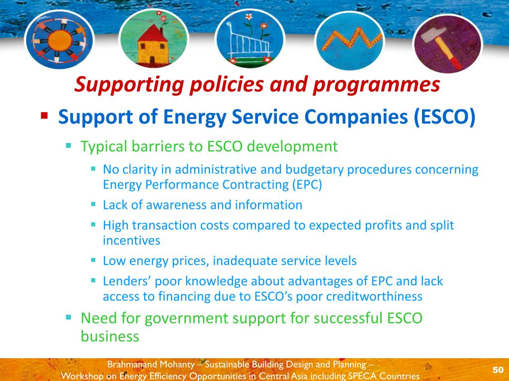 Support of Energy Service Companies (ESCO)
