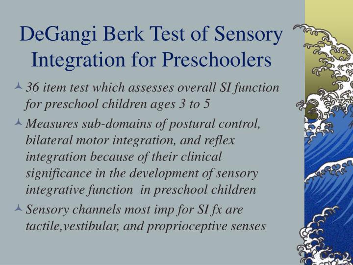 DeGangi Berk Test of Sensory Integration for Preschoolers
