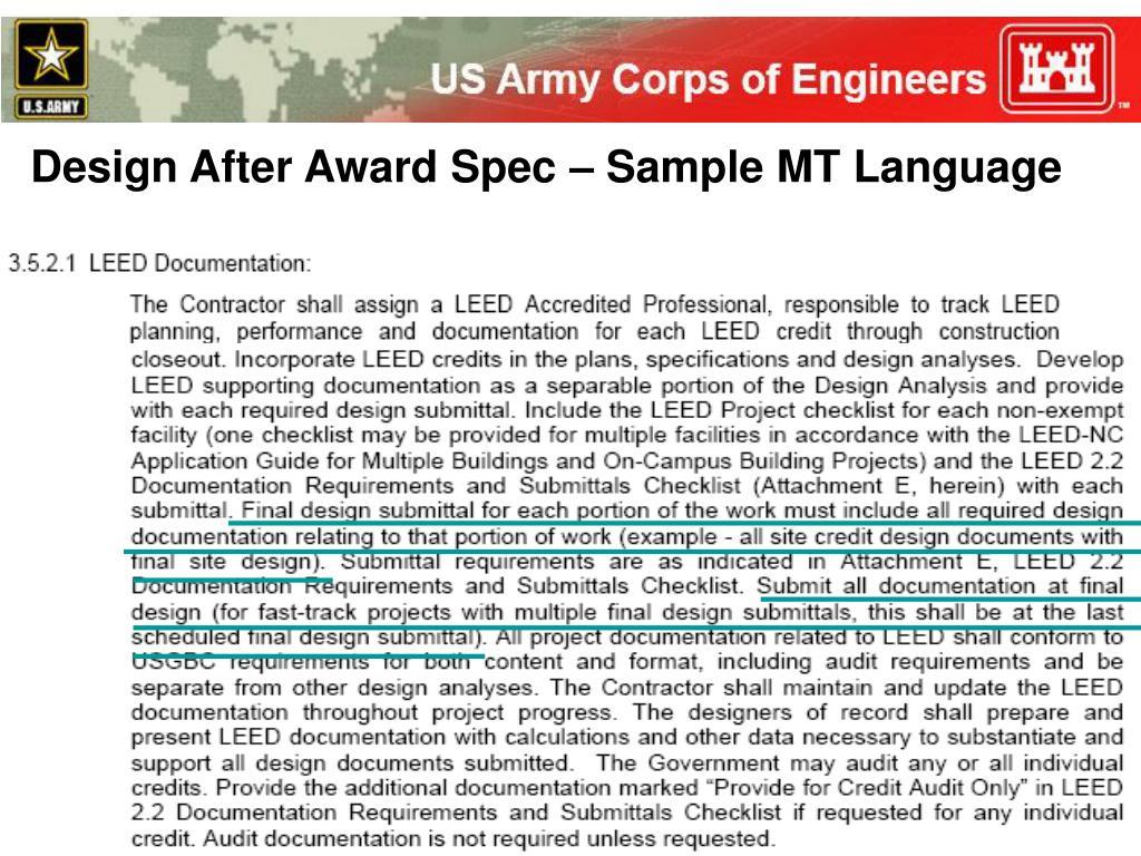 Design After Award Spec – Sample MT Language