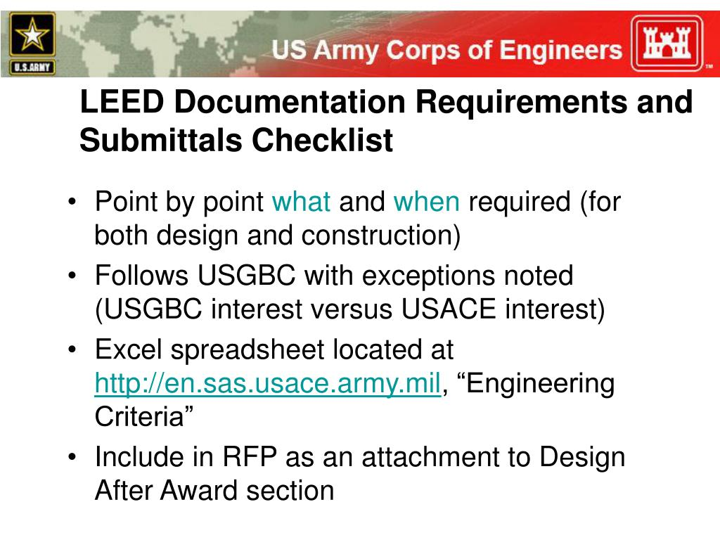 LEED Documentation Requirements and Submittals Checklist