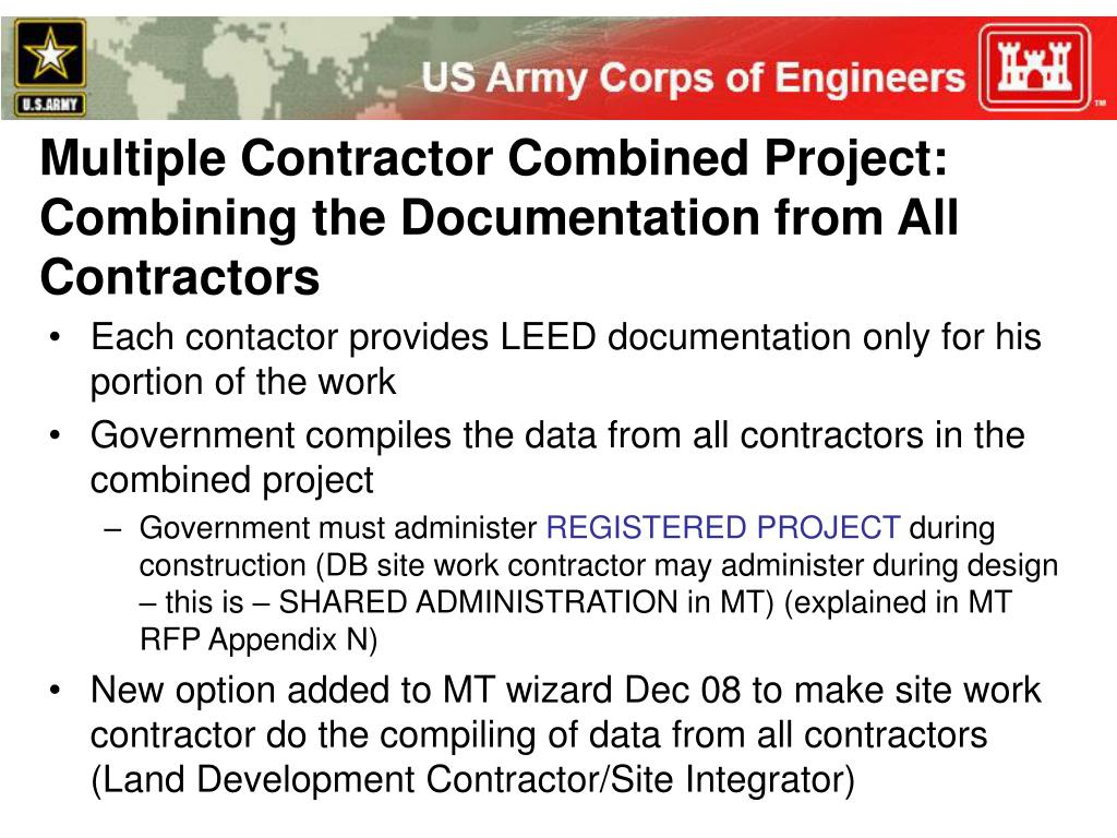 Multiple Contractor Combined Project: Combining the Documentation from All Contractors