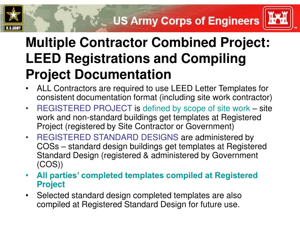 Multiple Contractor Combined Project: LEED Registrations and Compiling Project Documentation