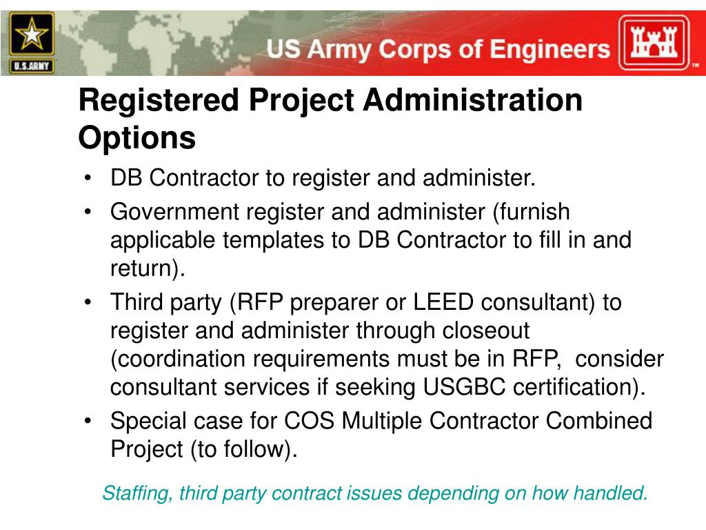 Registered Project Administration Options