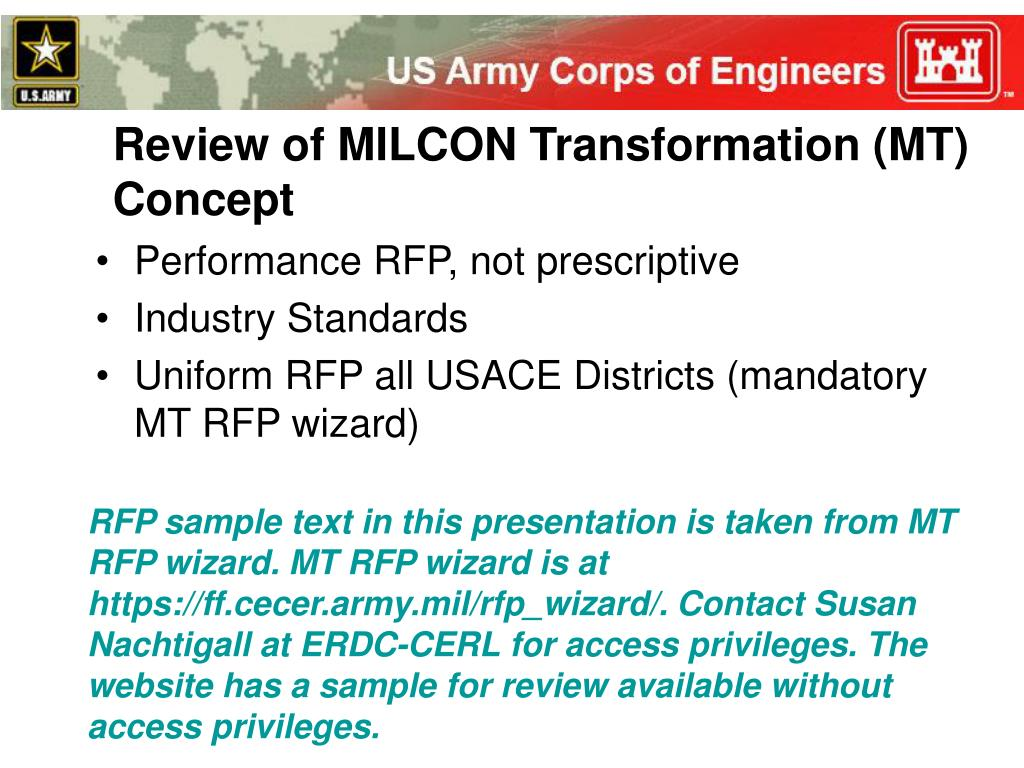 Review of MILCON Transformation (MT) Concept