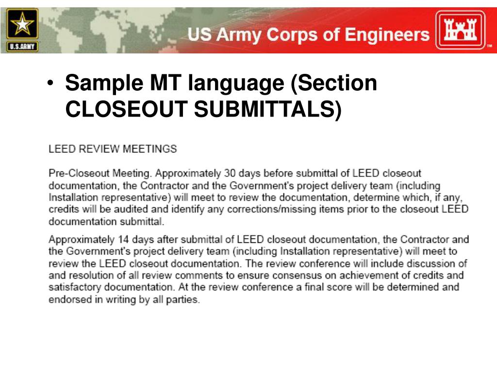 Sample MT language (Section CLOSEOUT SUBMITTALS)