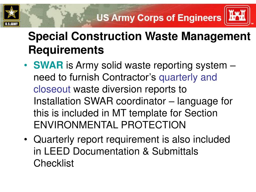 Special Construction Waste Management Requirements