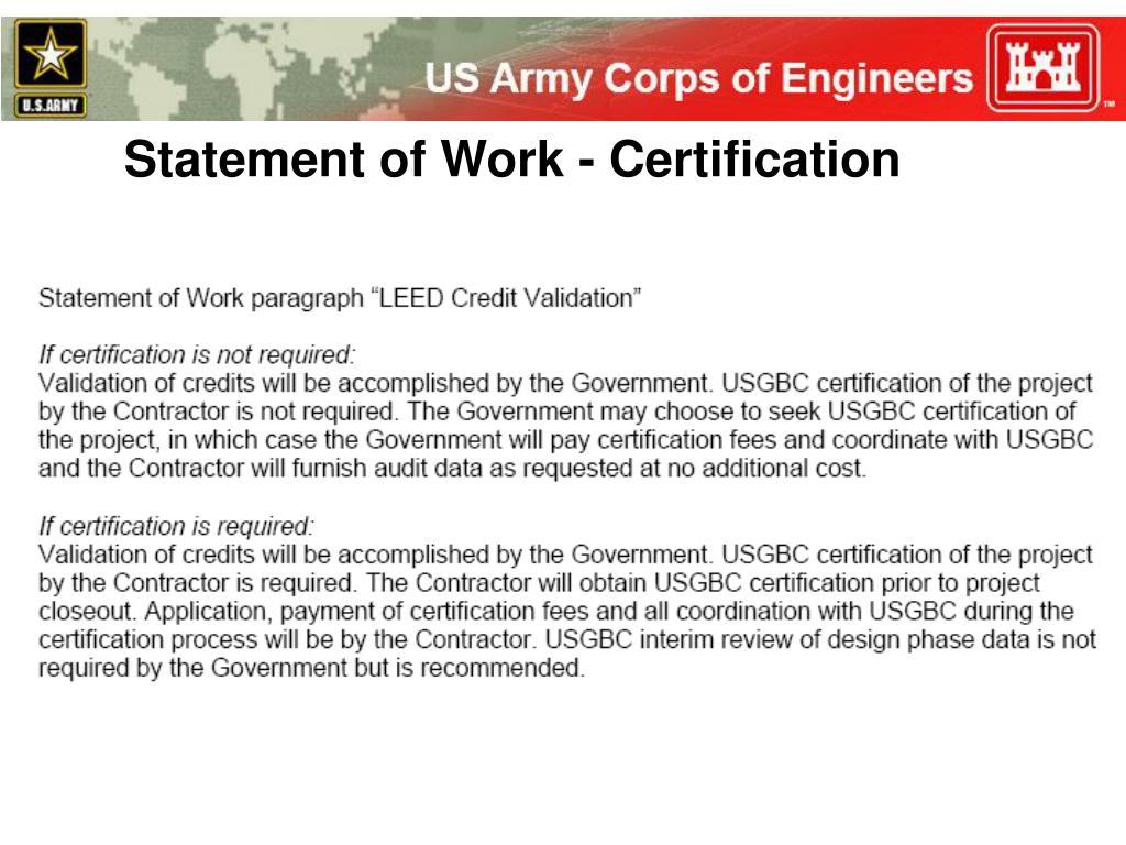 Statement of Work - Certification