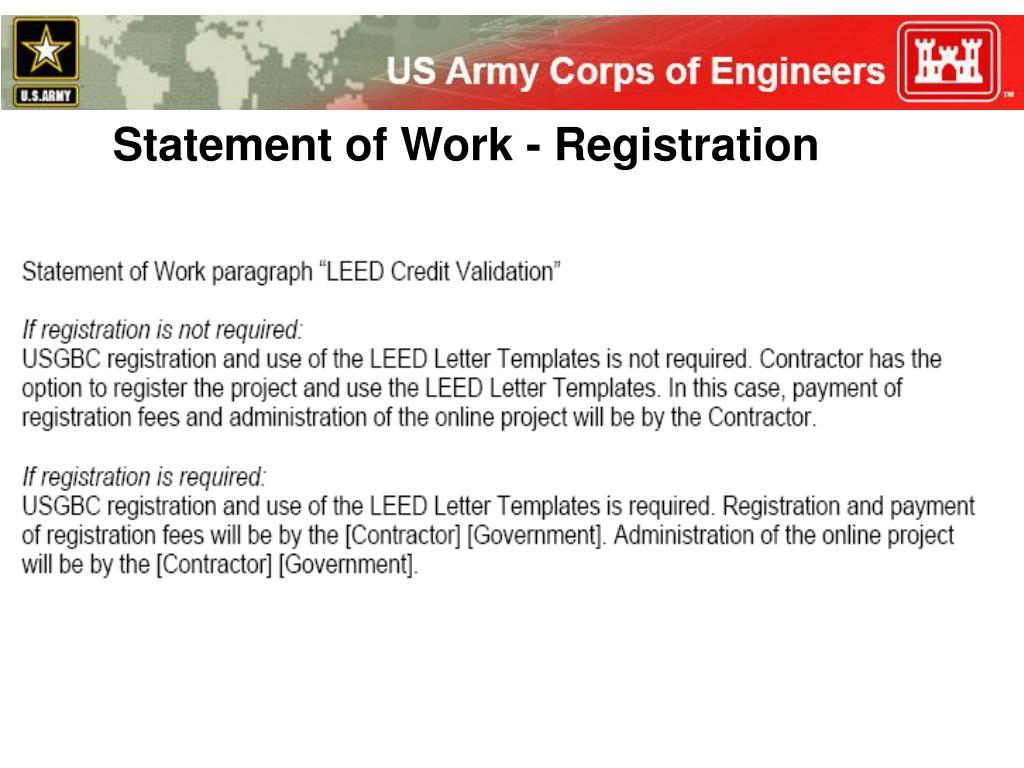 Statement of Work - Registration