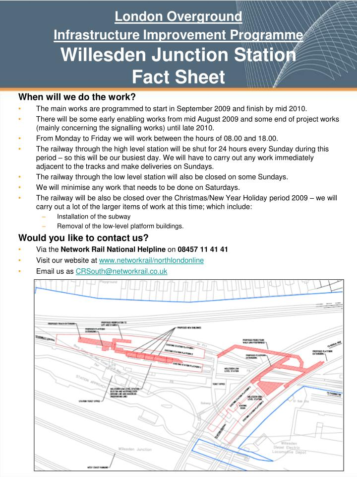 London overground infrastructure improvement programme willesden junction station fact sheet2